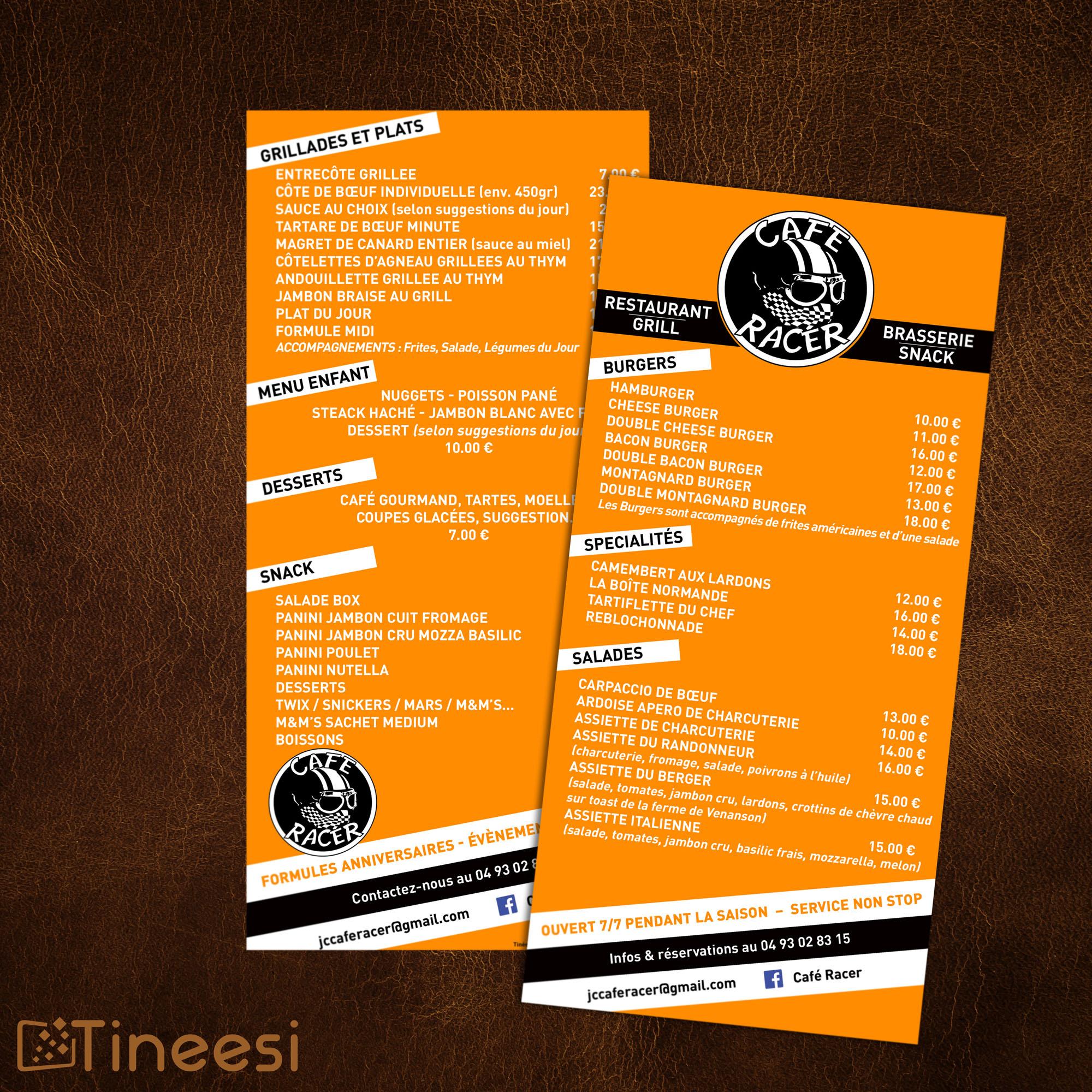 menu Café racer