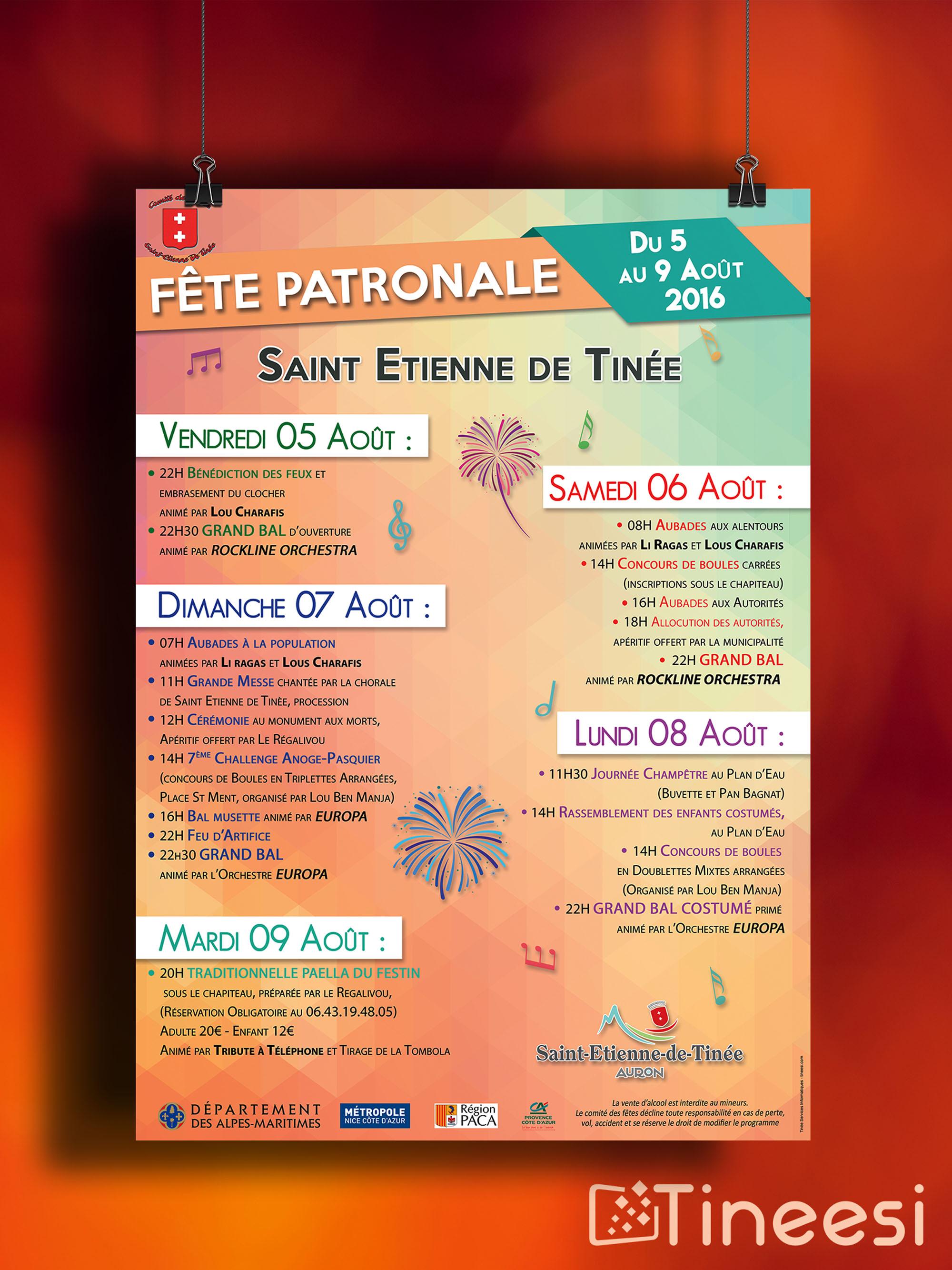 Comité des fêtes Saint Etienne de Tinée - affiche -2016