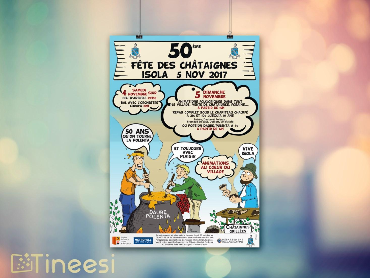 Comité des fêtes isola - Fête des châtaignes affiche