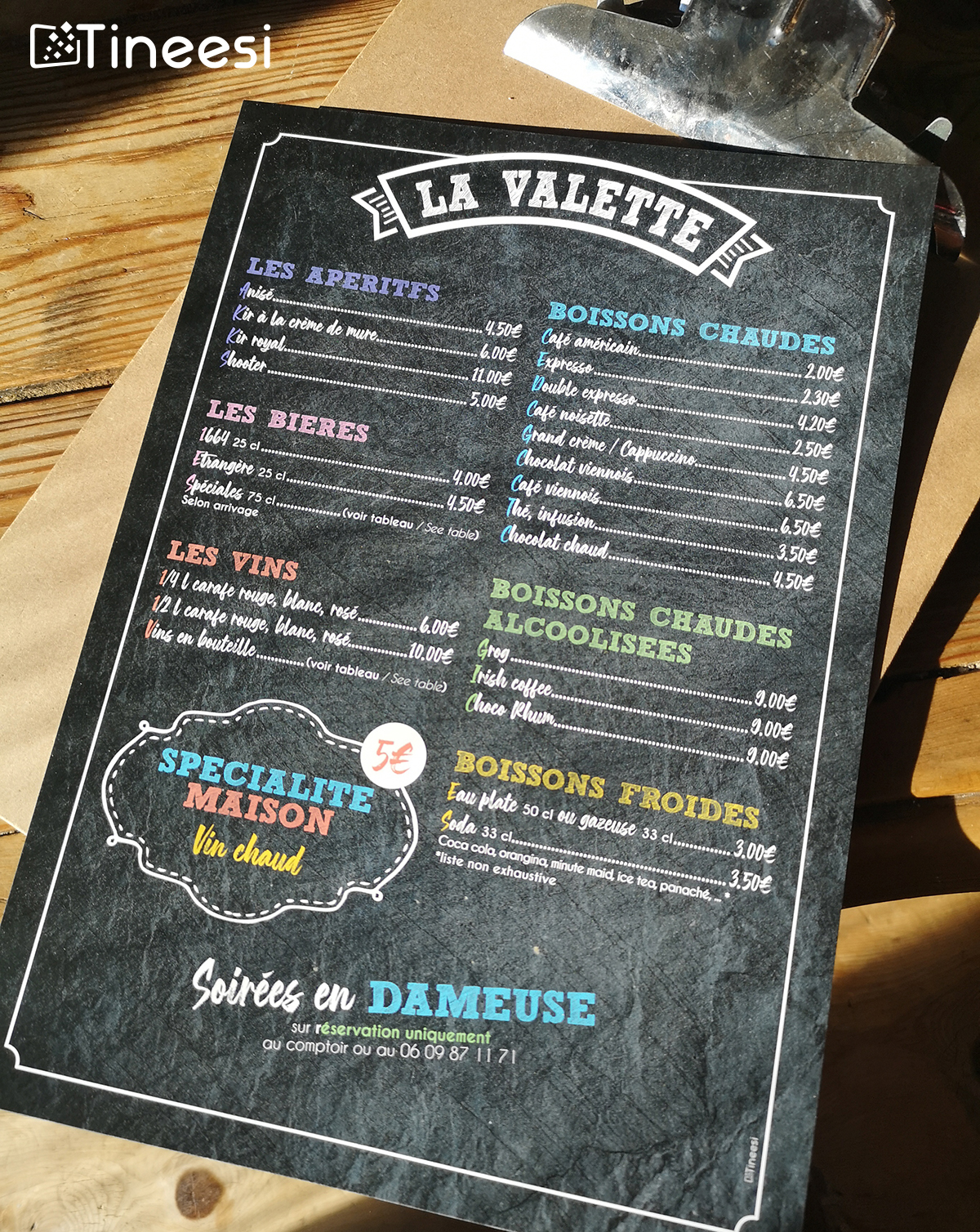 Restaurant La Valette Menu