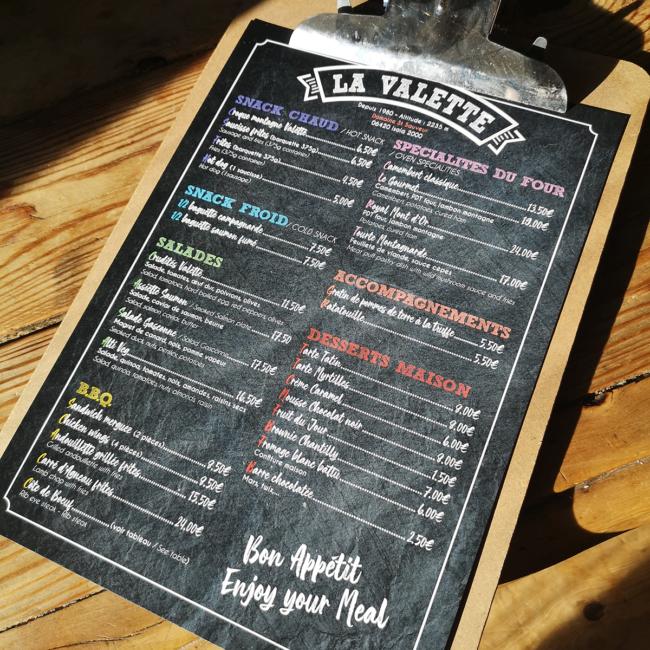 Restaurant La Valette Menu verso